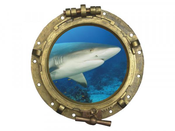 Wandsticker Bullauge mit Hai