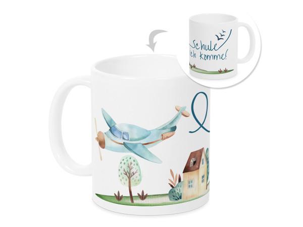 Tasse Einschulung Junge - Flugzeug - Geschenk für Schulkind