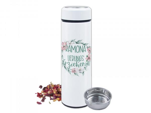 Teeflasche mit Namen personalisiert - Lieblingserzieherin mit Blumen