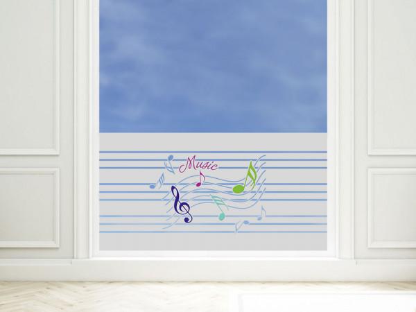 Sichtschutzfolie farbig Spruch Music