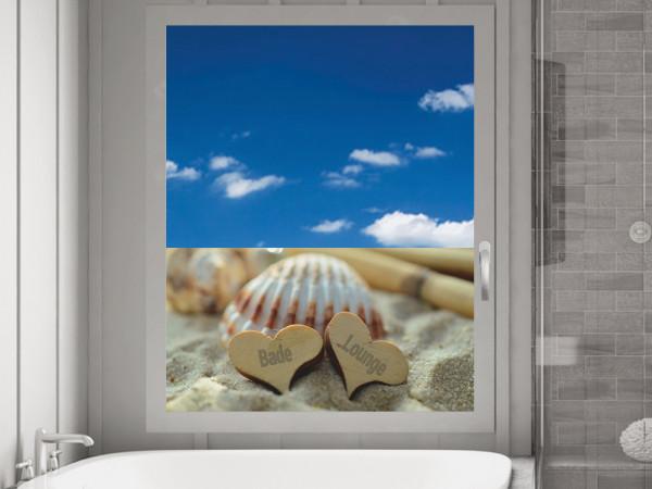 Sichtschutzfolie Bade Lounge Herzen Muschel