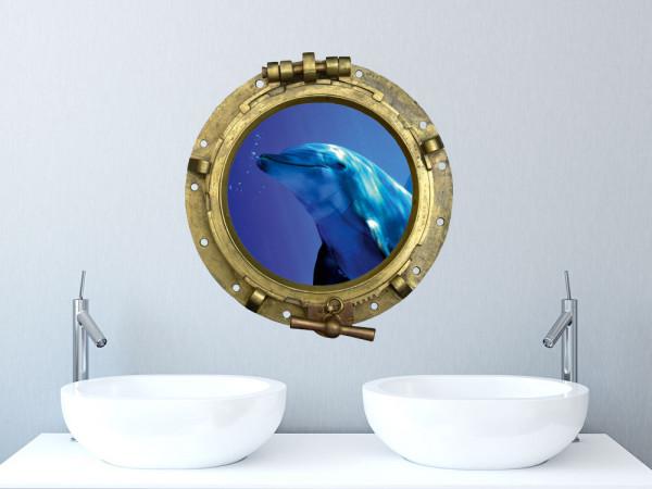 Wandsticker Wandtattoo Wandaufkleber Tiere Bullauge Bilderrahmen Delfin