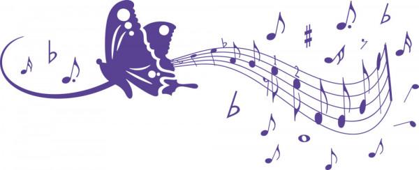 Wandtattoo Schmetterling mit Musik-Noten-Schweif