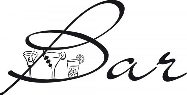 Wandtattoo Spruch Bar und 3 Cocktail Gläsern