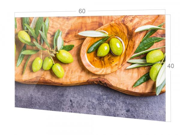 Spritzschutz Küche Glas grüne Oliven braun grau