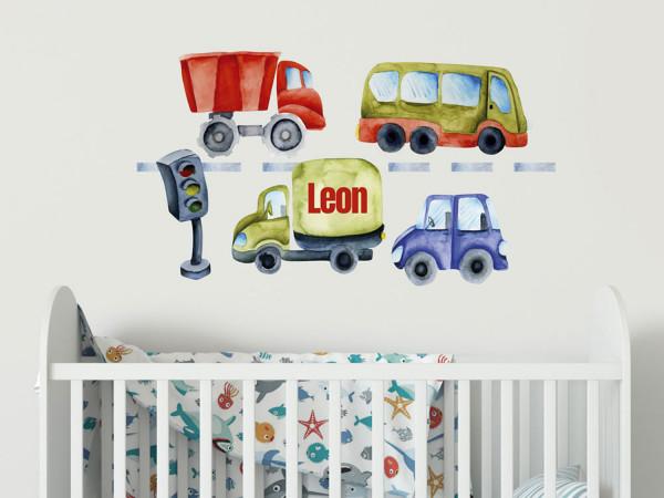 Wandtattoo Junge Name, Fahrzeuge, Kinderzimmer - Babyzimmer, personalisiertes Geschenk