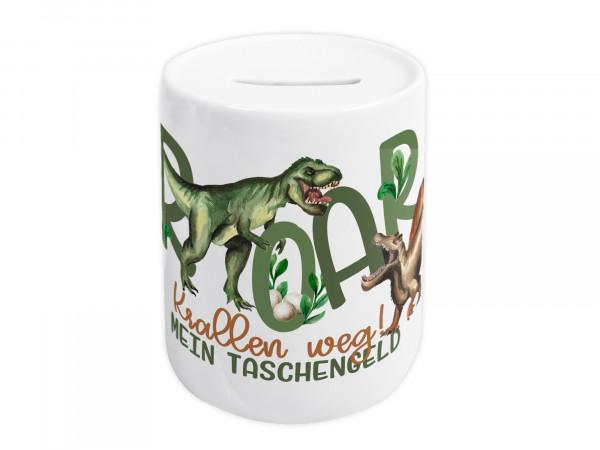Spardose für Kinder - Dinosaurier mit Spruch