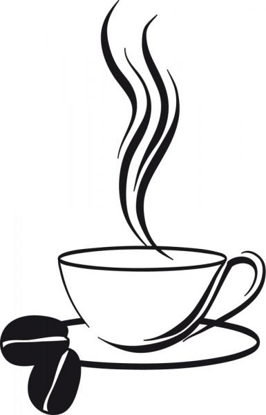 Wandtattoo Küche Kaffee Tasse mit Kaffeebohnen und heißem Dampf