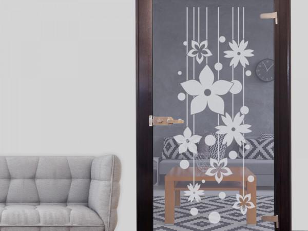 Glastattoo Wohnzimmer Blumen Punkte