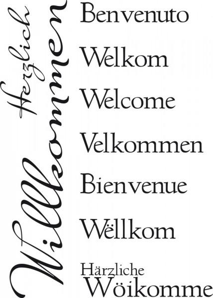 Wandtattoo Spruch Herzlich Willkommen in verschiedenen Sprachen