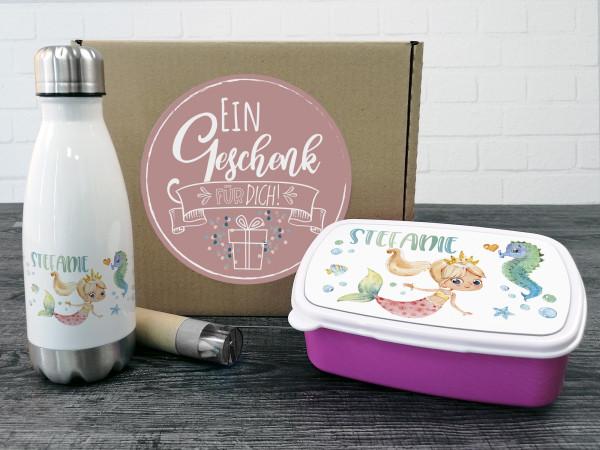 Geschenkbox Meerjungfrau, Trinkflasche + Brotdose
