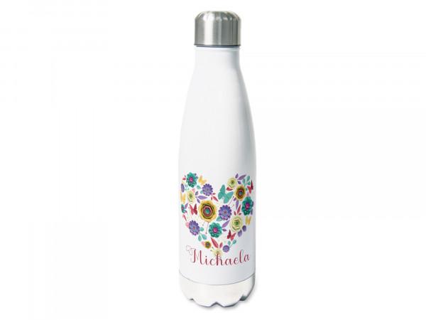 Thermosflasche mit Namen personalisiert Blumenherz