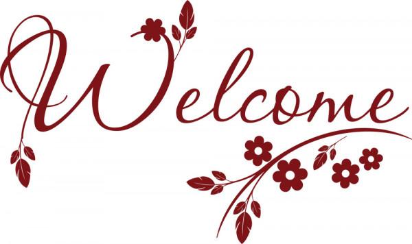 Wandtattoo Wandaufkleber Welcome in Schreibschrift mit Blumen