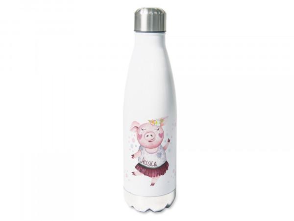 Trinkflasche mit Namen, rosa Schweinchen, personalisiert