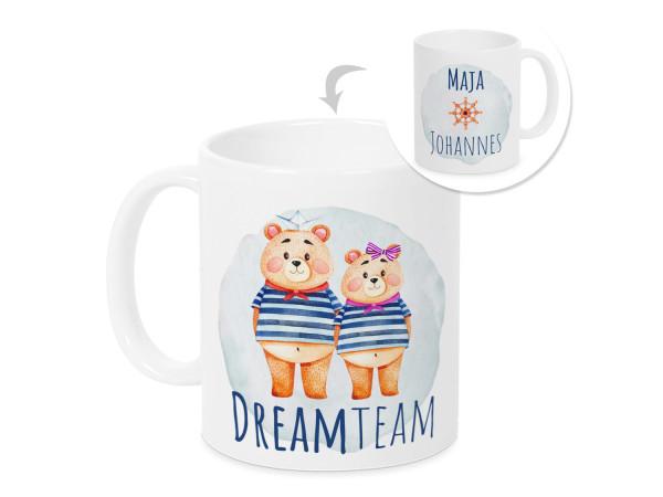 Dream Team Tasse mit Namen, personalisiertes Valentinstag Geschenk für sie und ihn, Paare, maritim