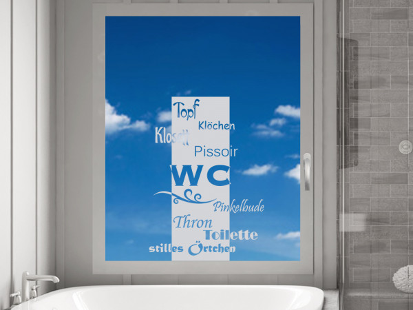 Fensterfolie Bad, Fenstertattoo für WC