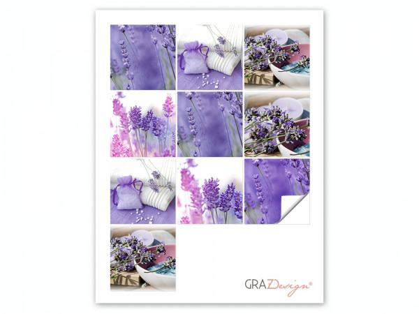 Fliesenaufkleber Set für Bad Lavendel Pflanze lila