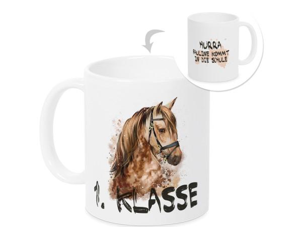Tasse mit Pferd zur Einschulung