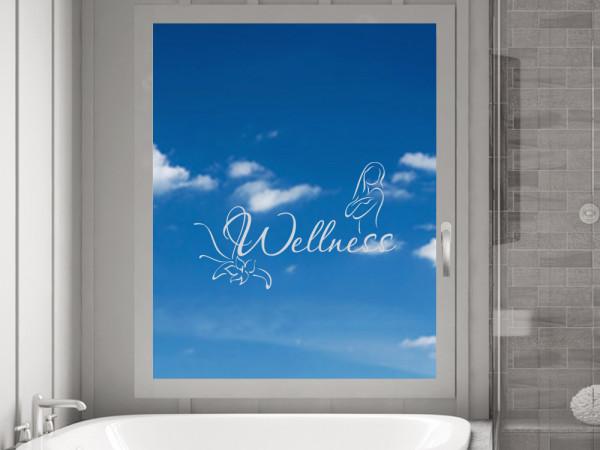 Fensterfolie Bad Wellness Blüte als Fenstertattoo