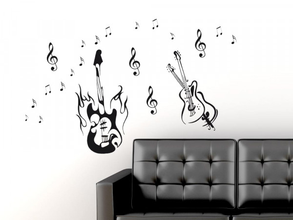 Wandtattoo Wohnzimmer Set Musik Gitarren Noten