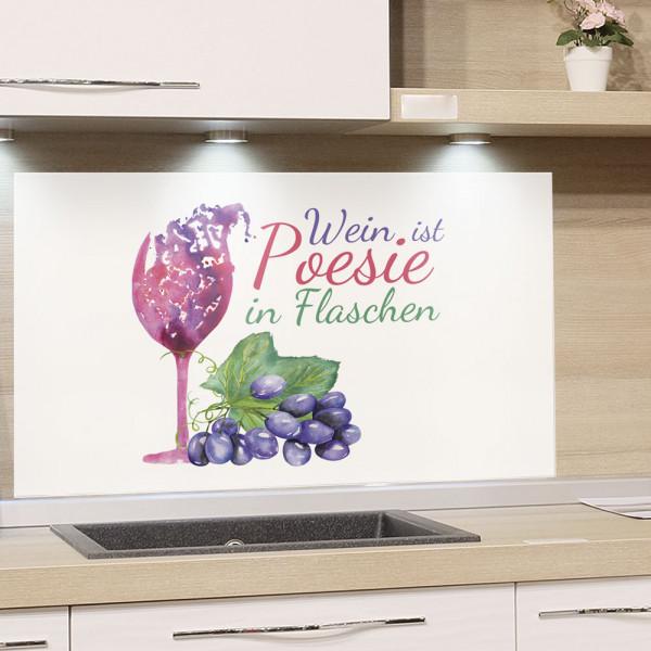 Spritzschutz Wein Glas mit Spruch
