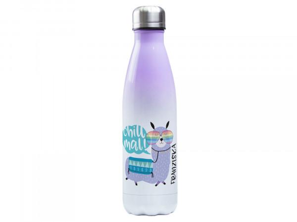 "Thermosflasche lila ♥ personalisiert - Lama ""Chill mal!"""