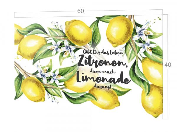 Spritzschutz Küche Herd, Zitronen mit Spruch, Küchenrückwand aus Echtglas