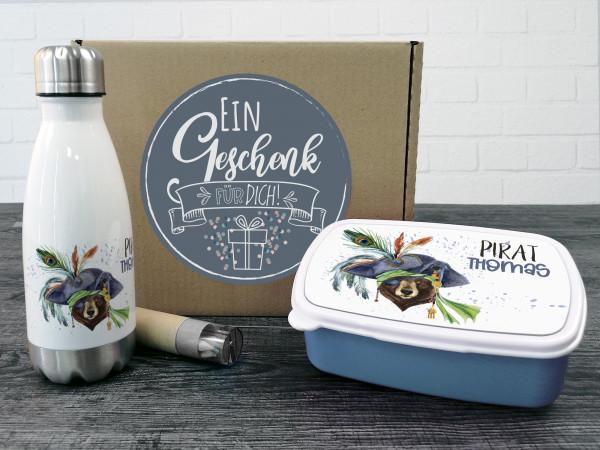 Geschenkbox Jungen Pirat Bär Trinkflasche und Brotdose