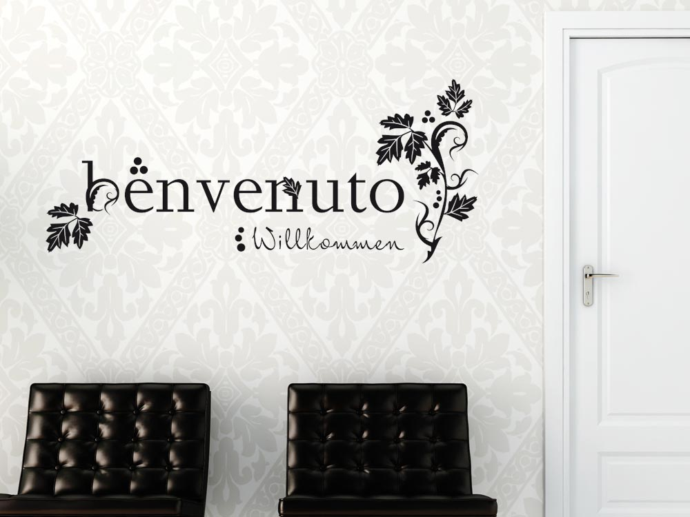 wandtattoo wandaufkleber wand deko flur willkommen. Black Bedroom Furniture Sets. Home Design Ideas
