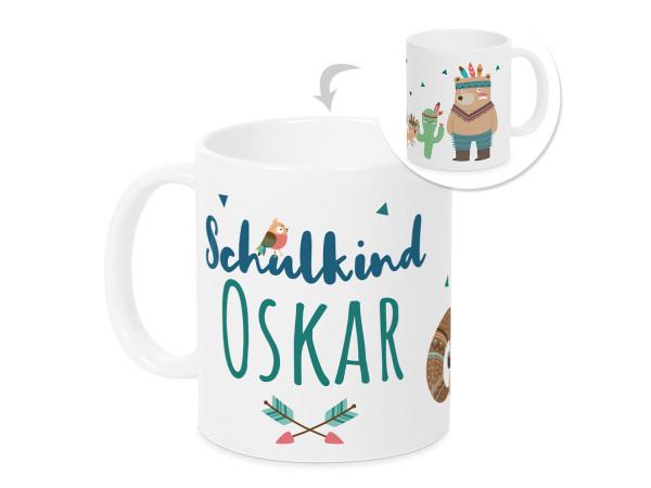 Tasse Einschulung Junge - Schulkind Indianerbär - personalisiertes Geschenk