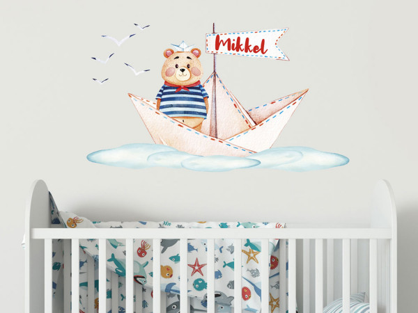 Wandtattoo Junge Name, Bärchen auf Schiff, Kinderzimmer - Babyzimmer, personalisiertes Geschenk