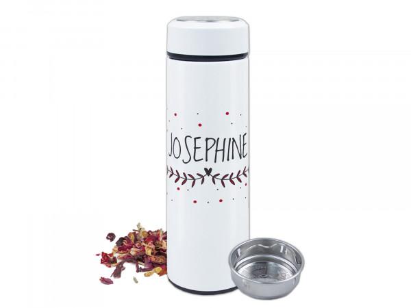 Thermo-Teeflasche mit Siebeinsatz, top isolierend, einzigartig, personalisierte Geschenke mit Namen, 500ml
