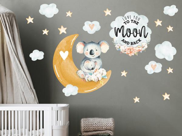 Wandtattoo Kinderzimmer, Koalas mit Mond, Sternen und Spruch