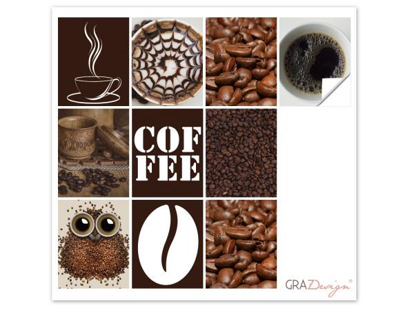 Fliesenaufkleber Küche Kaffee in Braun