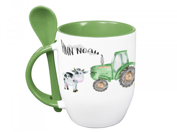 Tasse mit Löffel personalisiert mit Namen und Trecker