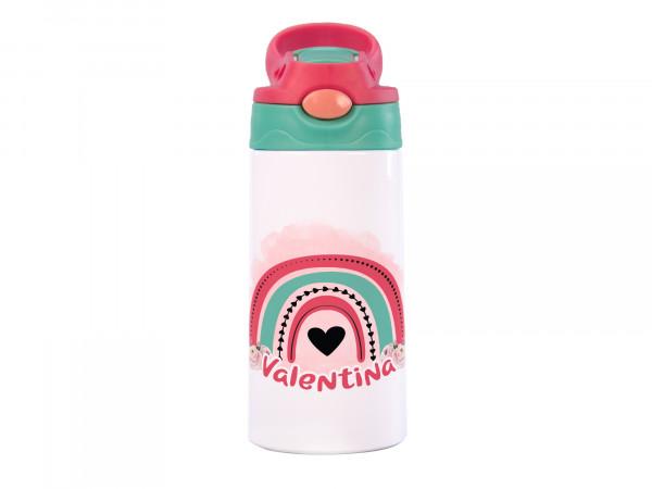Thermo-Trinkflasche Regenbogen mit Herzen + Name
