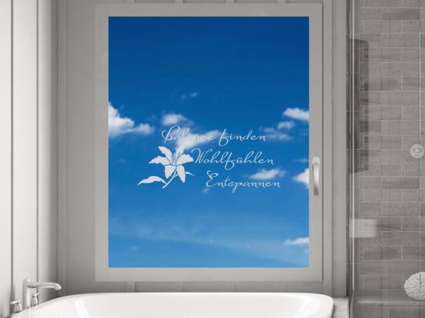Fensterfolie Badezimmer Wellness als Fenstertattoo