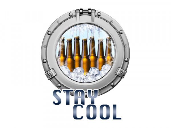Aufkleber für Kühlschrank Stay Cool Bullauge Bierflaschen