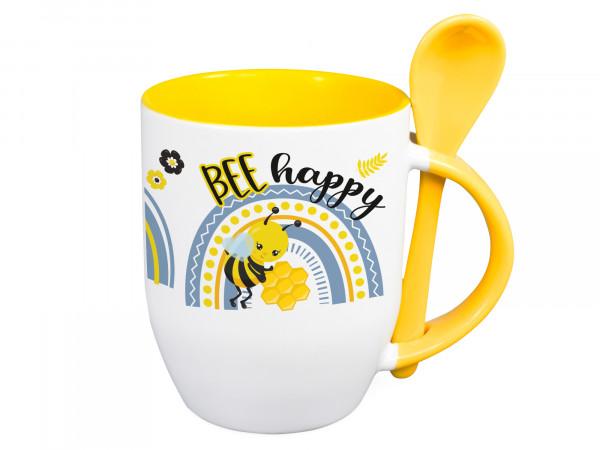 Tasse mit Löffel Name personalisiert und Bienen