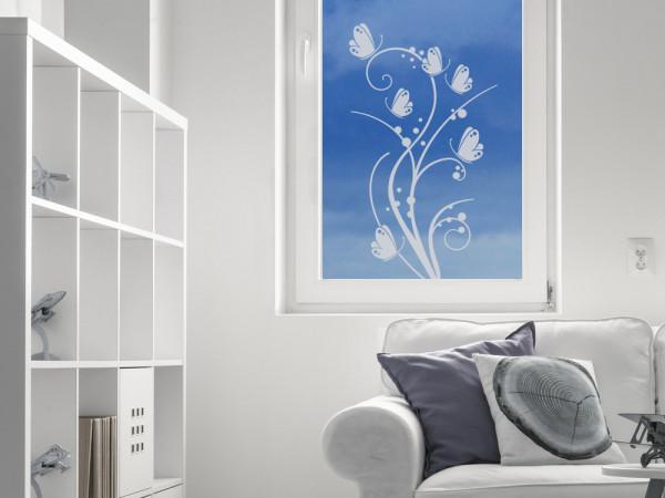 Glastattoo Wohnzimmer Blumenornament