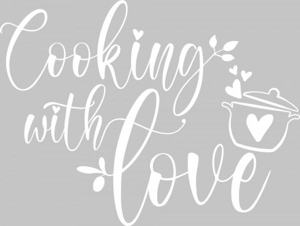 Wandtattoo Küche Cooking with love Spruch