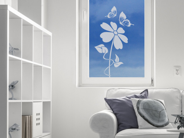 Glastattoo Wohnzimmr Blume Schmetterling