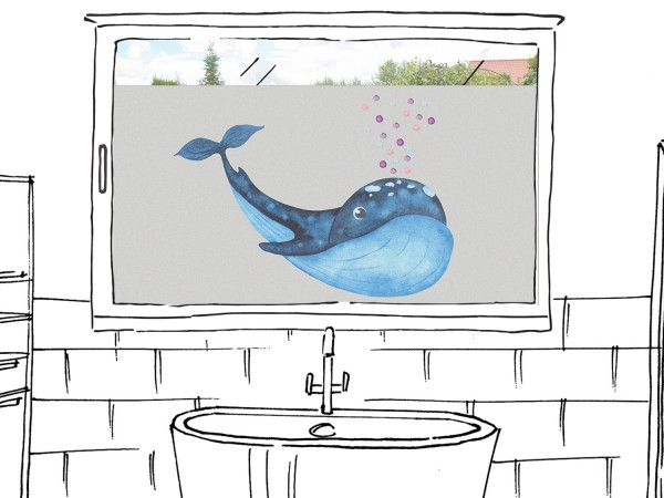 Fensterfolie Bad Wal maritim, Sichtschutzfolie für Fenster, Dusche, Glas