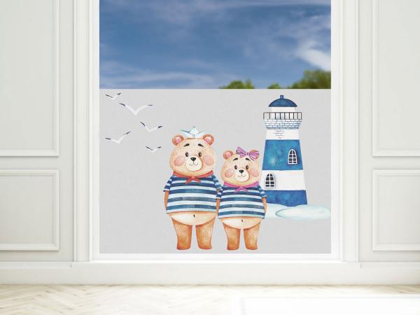 Fensterfolie Bad Leuchtturm mit Bären maritim