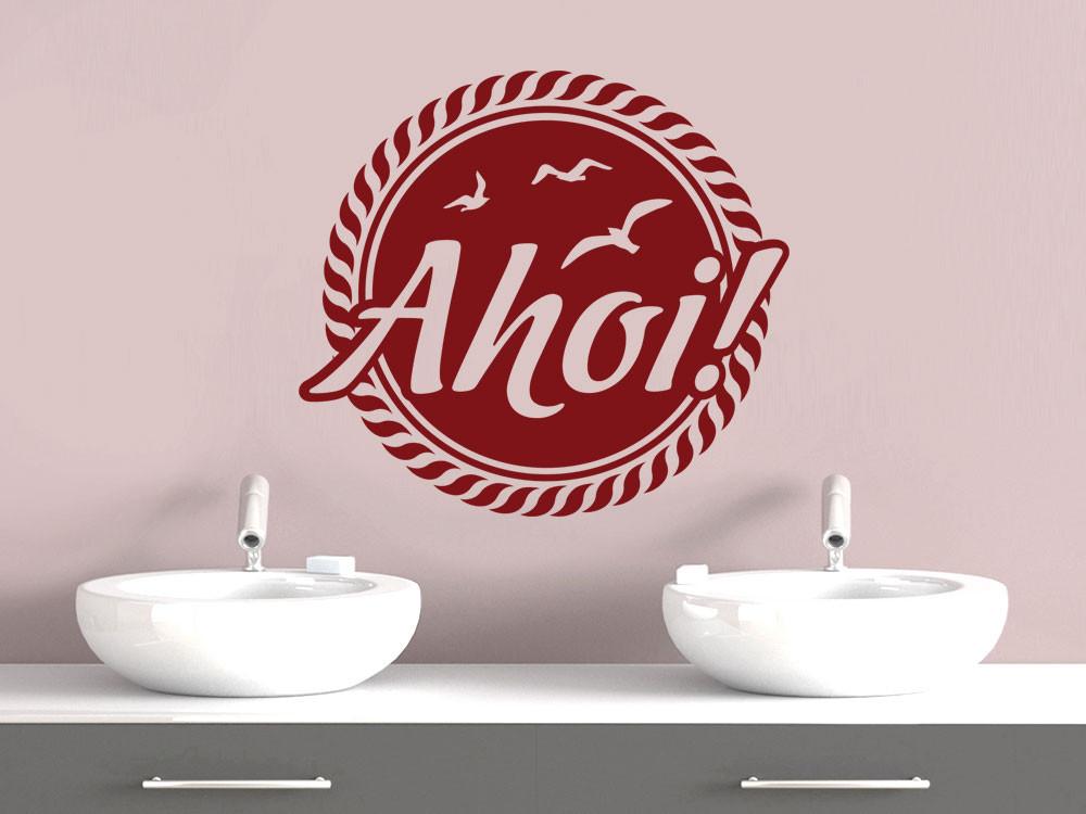Wandtattoo für Badezimmer Ahoi! Schriftzug | Meer & Leuchtturm ...