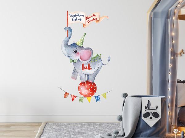 Wandtattoo personalisiert mit Namen - Elefant im Zirkus