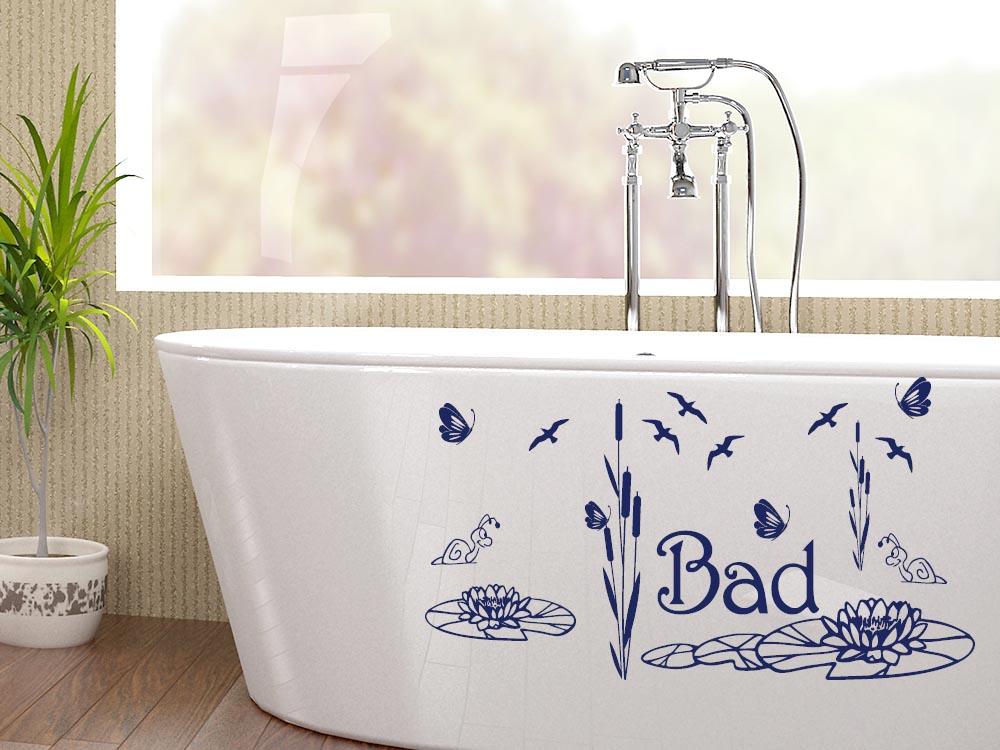 Wandtattoo Aufkleber Wand Deko Set für Badezimmer Bad Vögel Seerosen ...