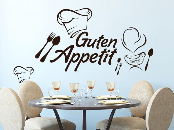 Wandtattoo Set Küche Spruch Schriftzug Guten Appetit mit Kochmütze