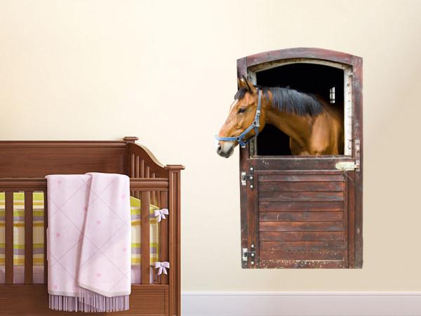 Wandsticker Tiere Pferd Stall Box Tür Kinderzimmer