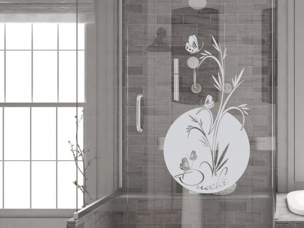 Fenstertattoo für Duschkabine im Badezimmer mit Pflanze